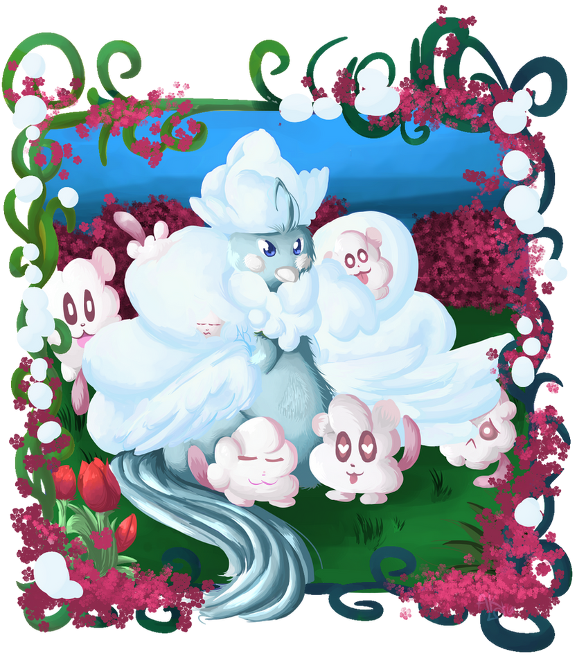 Redraw: Mega Altaria and Swirlix by KitsyArts