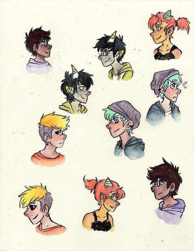 Watercolor Profiles by FalafelsForTheSoul