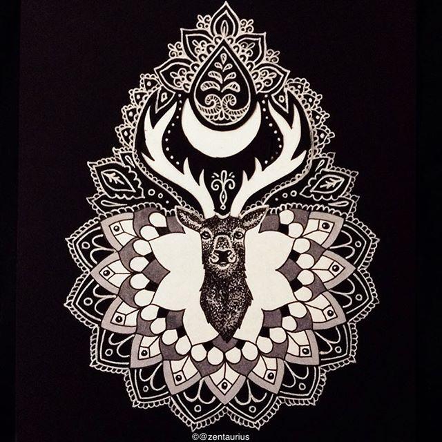 Luna stag mandala design by zentaurius on deviantart