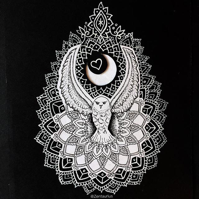 luna owl mandala design by zentaurius