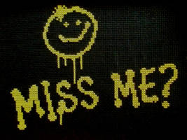 ''Miss me ?'' from Sherlock BBC in cross stitch