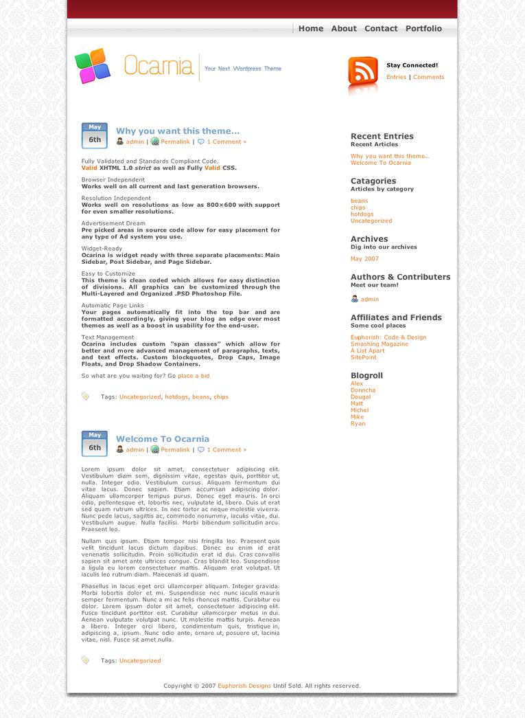Ocarina Wordpress -commercial- by alexjames01