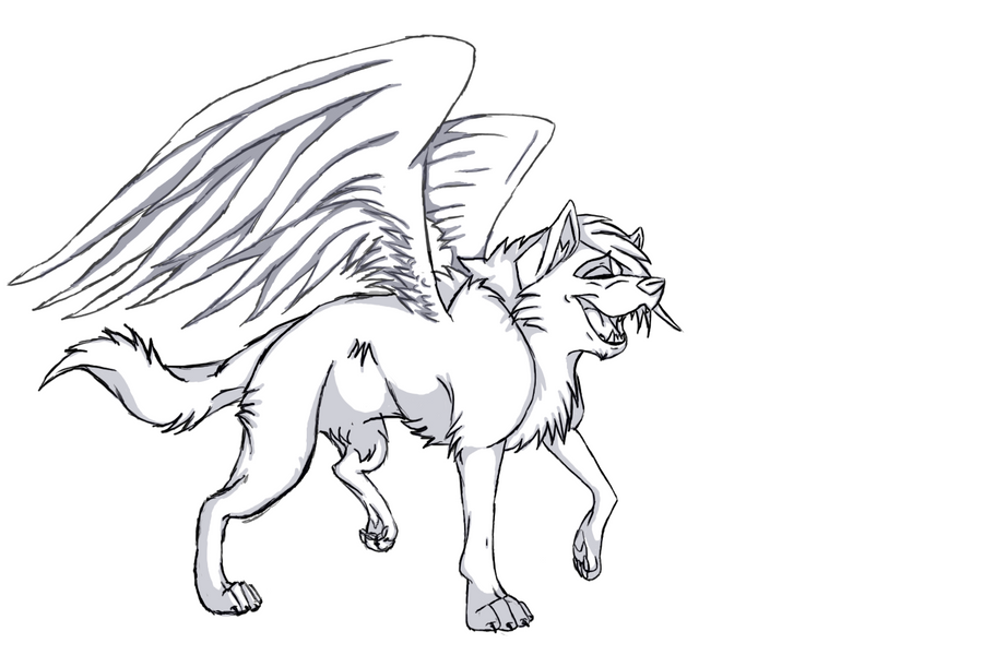 Free Winged Wolf Lineart By Wolfieluv6 On Deviantart