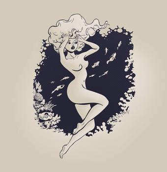 mermaid Tshirt design by gadyariv