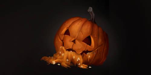A pumpkin corpse