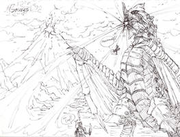 Gravios vs Hunter and Felyne by TheDemonCalledAkuma