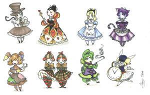 Alice in Wonderland Dolls by herby62