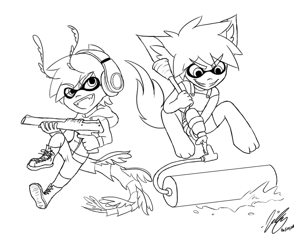 splatoon coloring pages - splatoon lineart by crystalizedvapour on deviantart