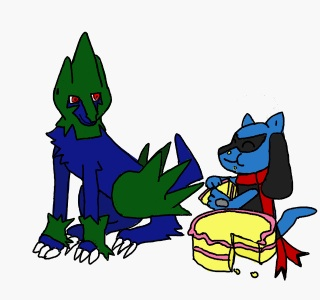 Manectric and Riolu Eat Cake by mjjfan10