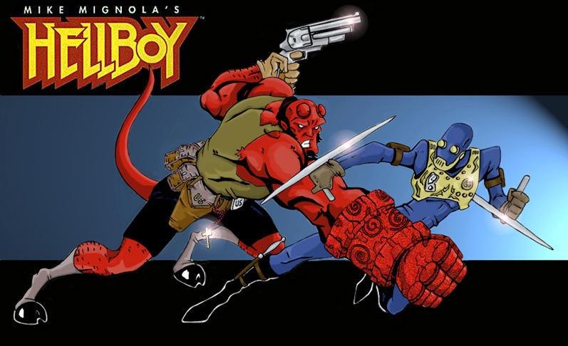 Hellboy vrs Kroenen....color by DarthZemog