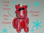 Candy Cane Unicorn Christmas Tree Ornament