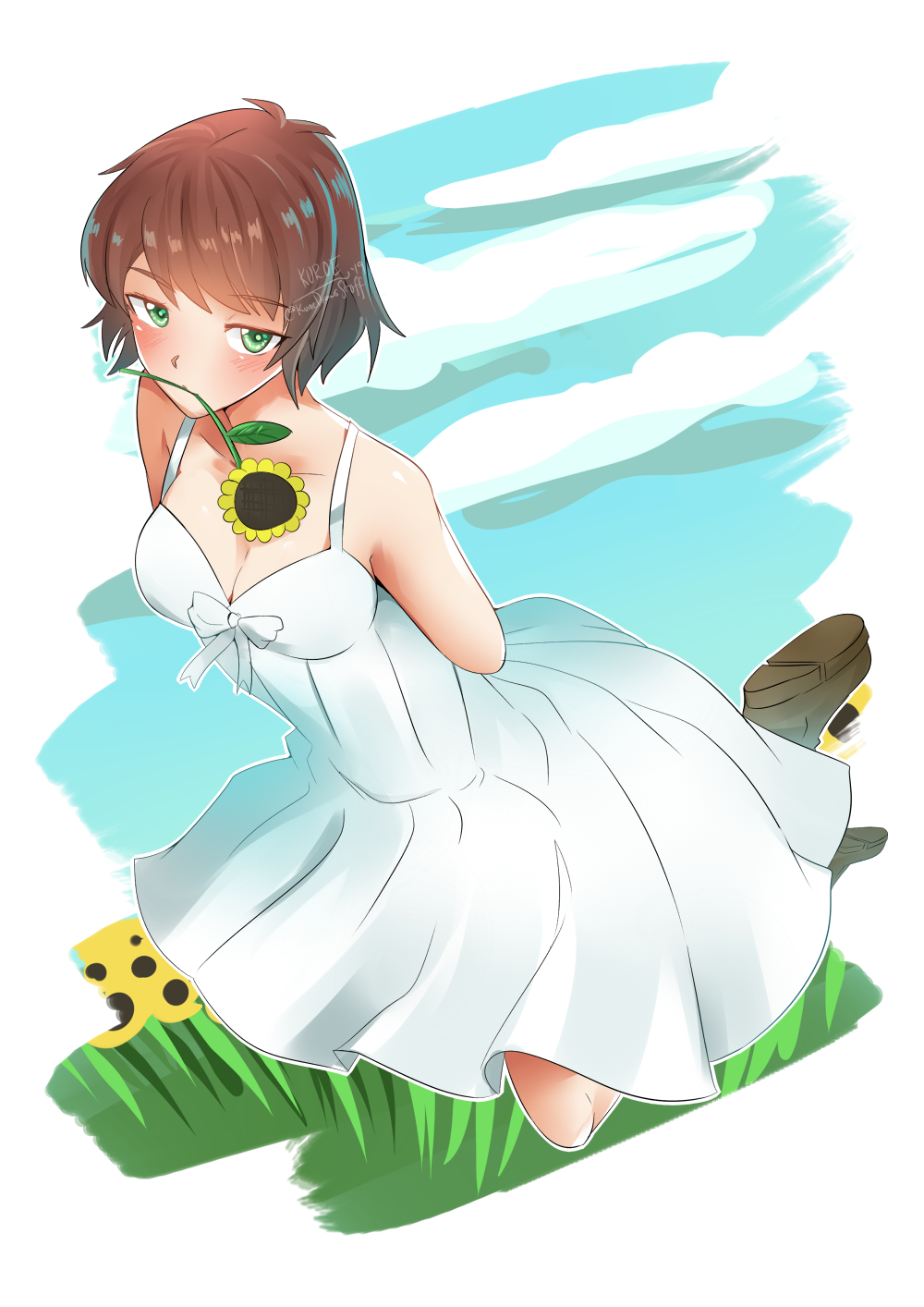 Rin Tezuka in a Dress [Katawa Shoujo] by KuroeArt