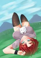 Anya on the grass by KuroeArt