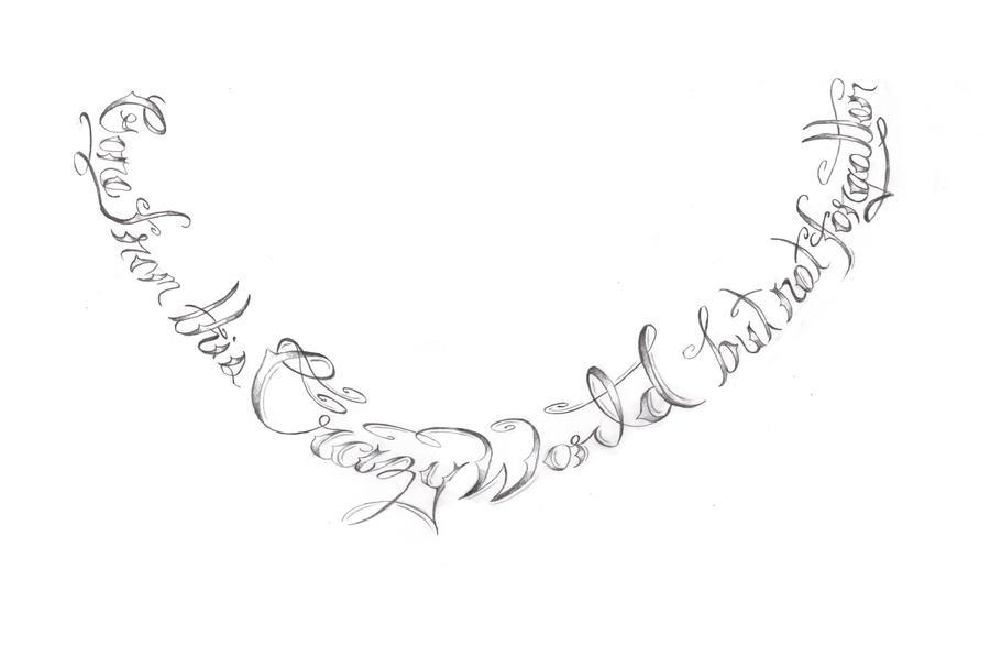 neck tattoo lettering by expedient demise on deviantart. Black Bedroom Furniture Sets. Home Design Ideas