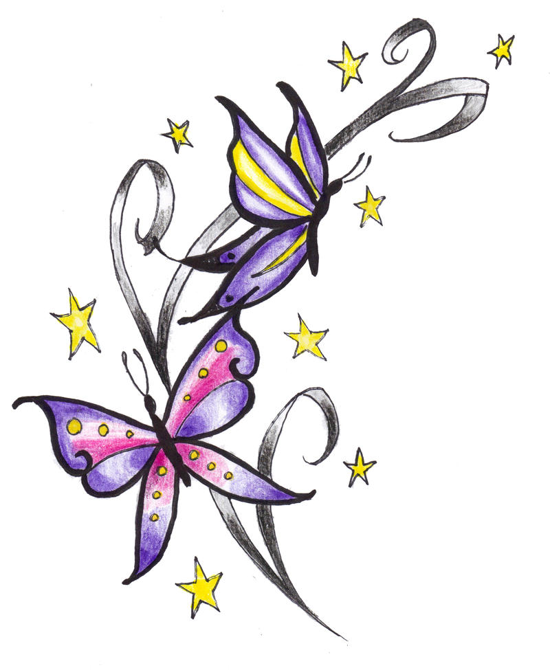 Butterflies And Stars Tattoo By Expedient Demise On Deviantart