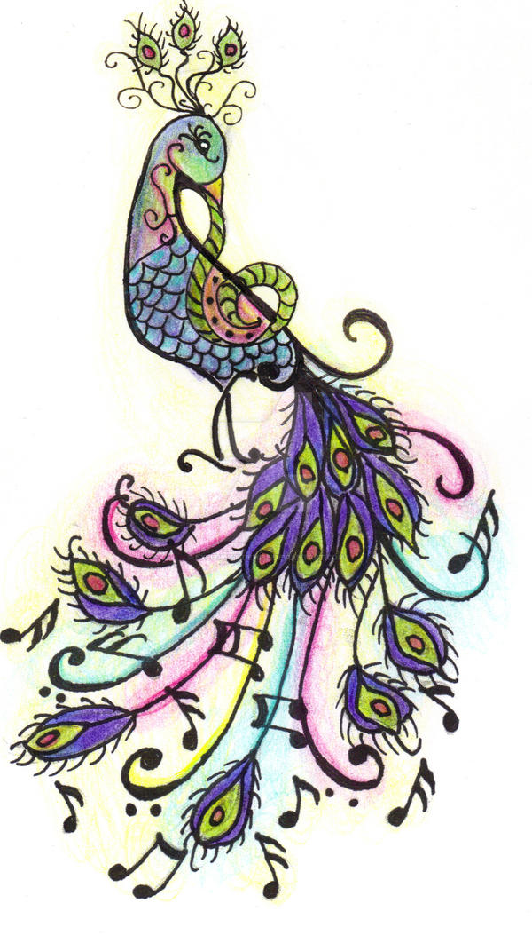 07f7fb665 ... musical peacock tattoo by expedient-demise on DeviantArt Colorful Peacock  Tattoo Drawing ...