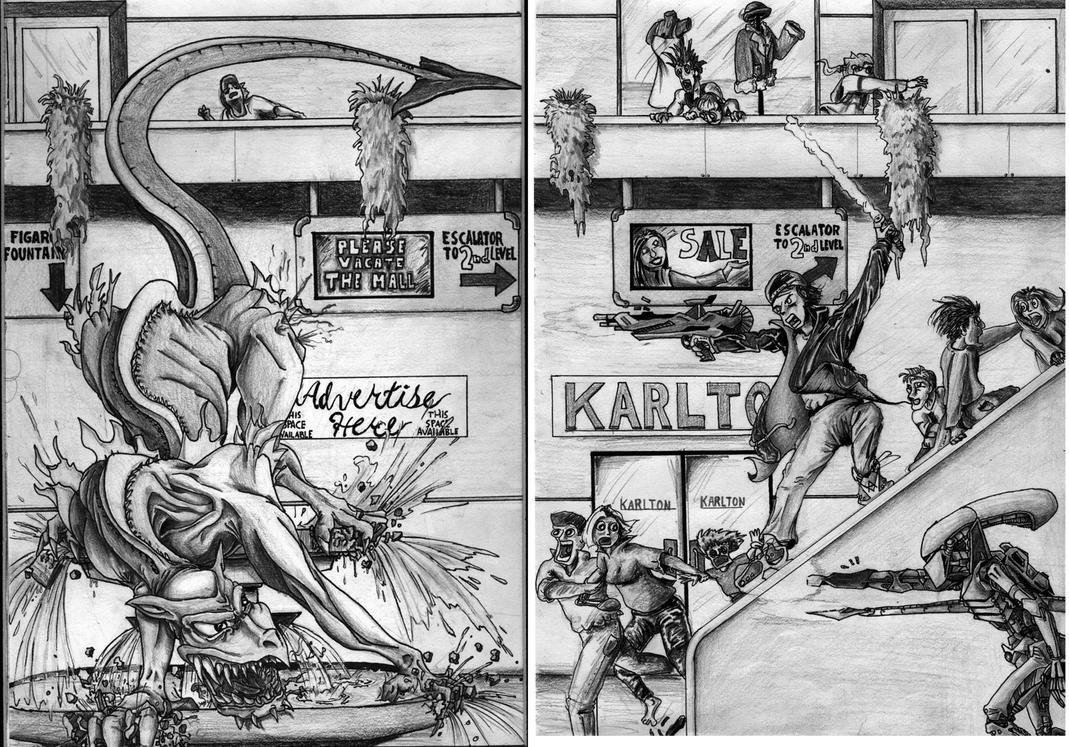 Battle in the mall by diablien