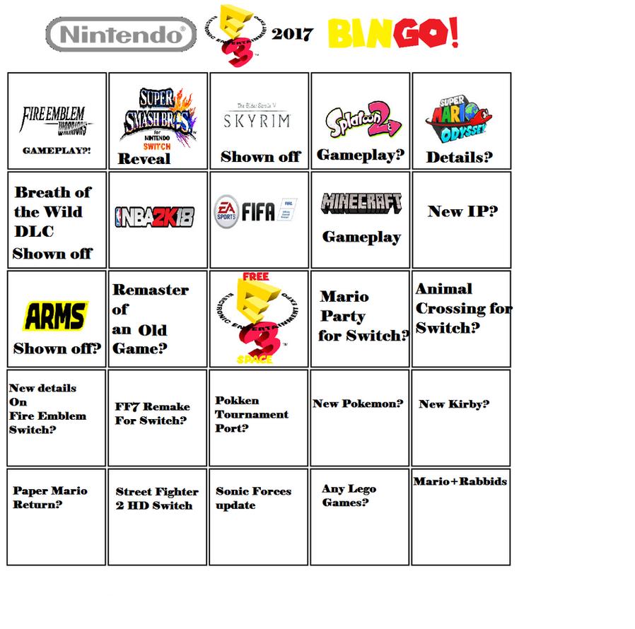 Nintendo E3 2017 Bingo Template By Moviestar1999-d by SyntheticShark