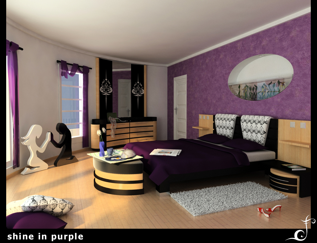 25 impossible purple bedroom ideas slodive for Violet bedroom designs