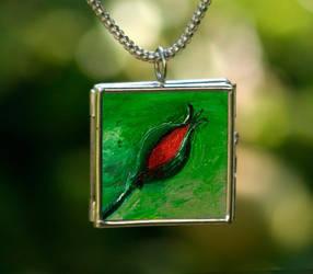 Art Necklace Rosebud by NancyvandenBoom