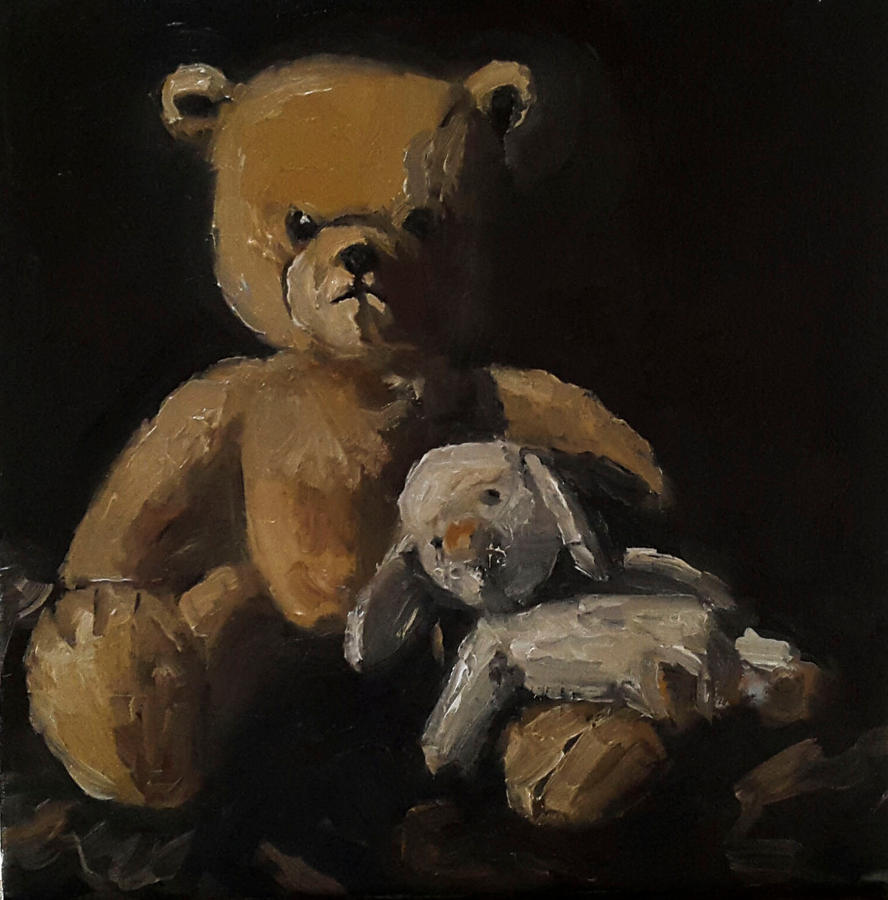 Bear and his little friend oil painting 30 x 30 cm by NancyvandenBoom