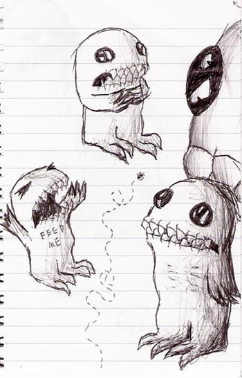 Cute Monster Doodles The cute monster doodles by