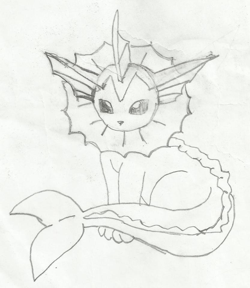 Pokemon Drawing of Vaporeon by TheCupcakeTurtle on DeviantArt