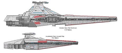 Venator-class Star Destroyer with Acclamator by AyeninerMkII