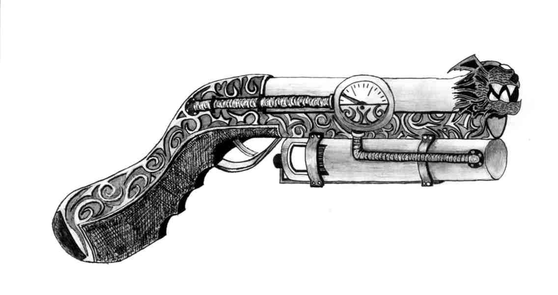 One Line Art Gun : Steampunk gun by raziel son of kain on deviantart