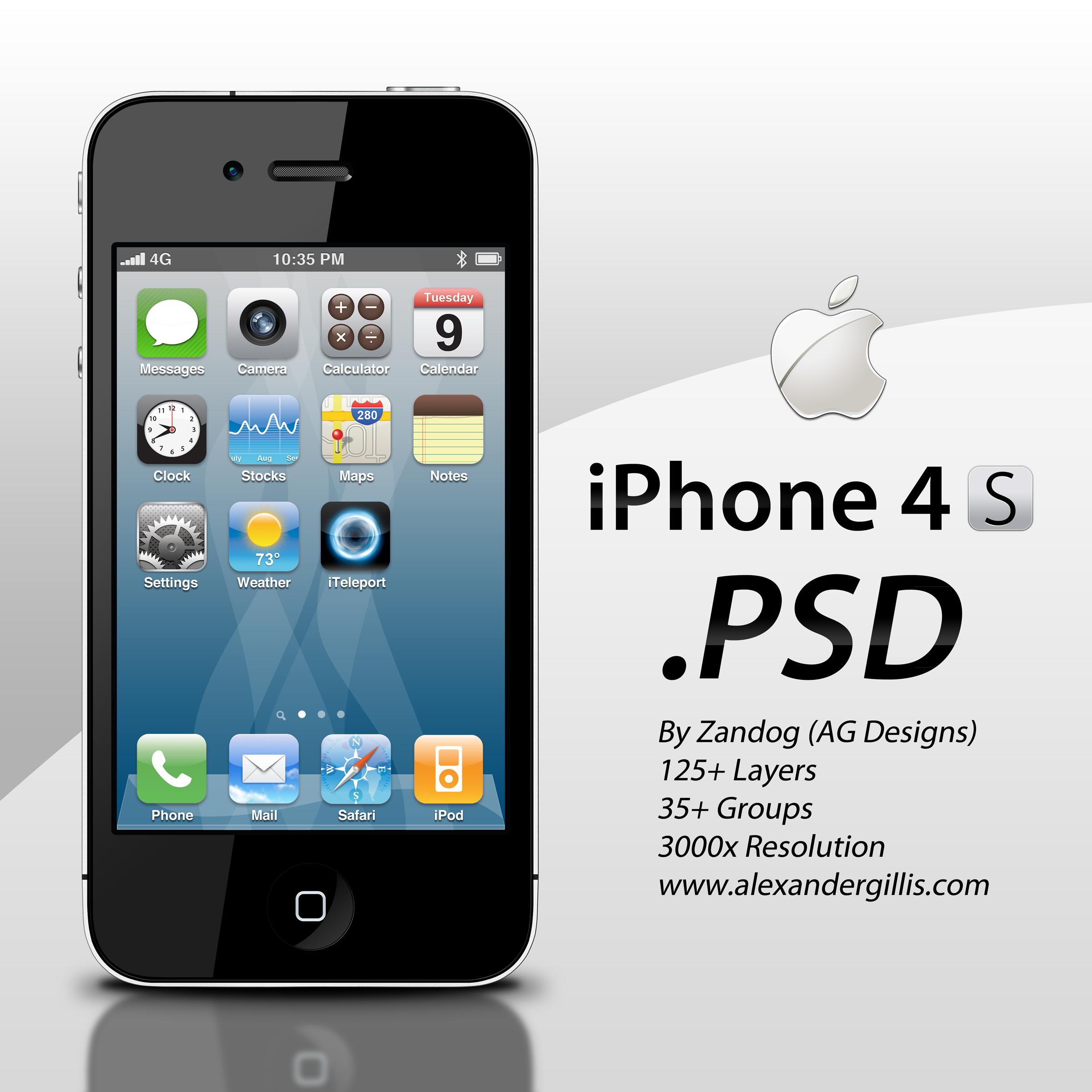 Apple iPhone 4S .PSD