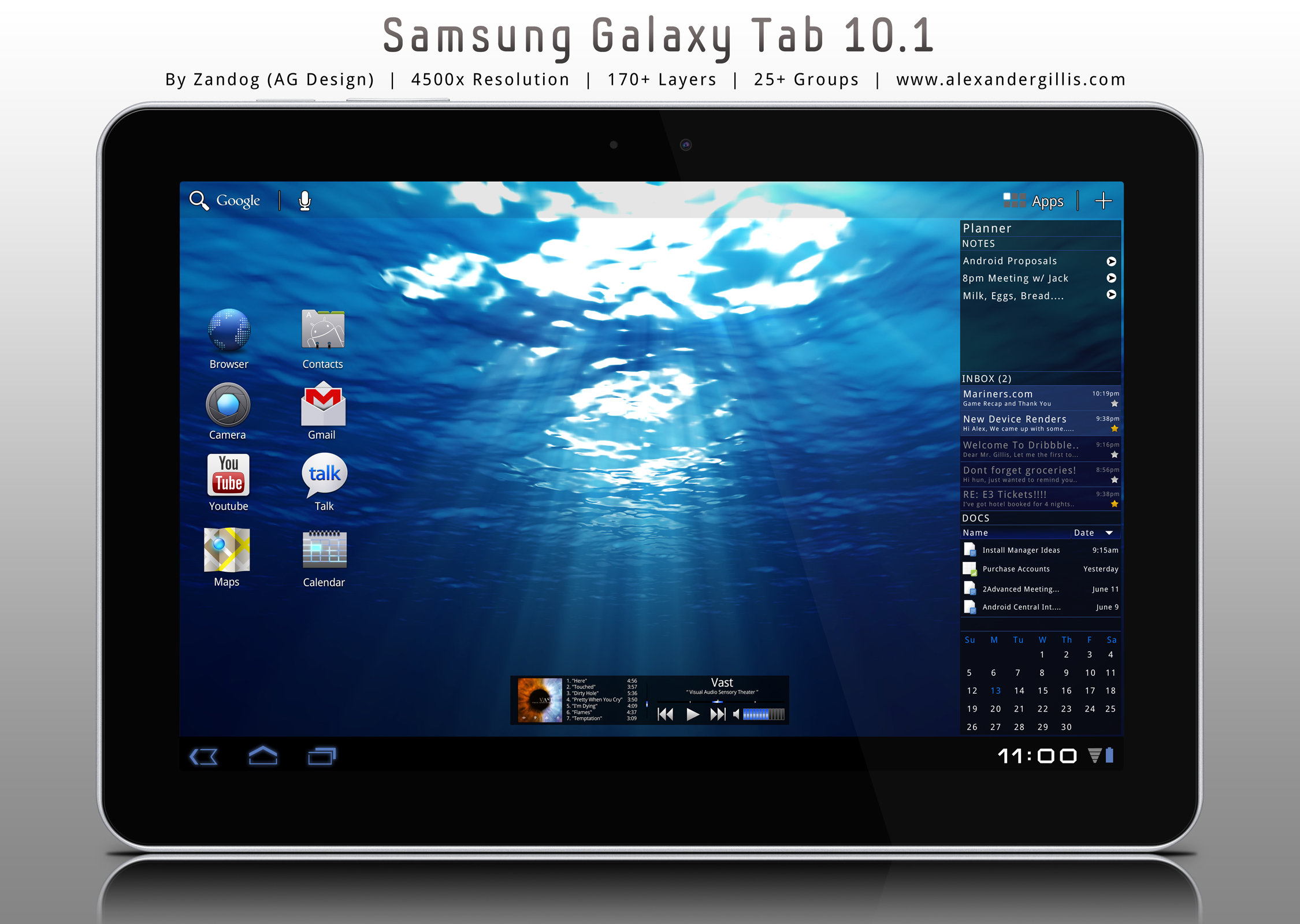 Samsung Galaxy Tab 10.1 .PSD