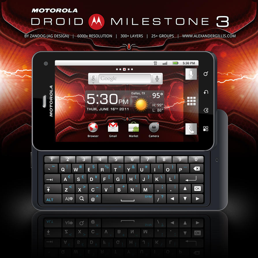 Motorola Droid Milestone 3 PSD by zandog