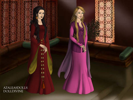 Mother Gothel and Rapunzal.