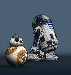 Droids: R2-D2 and BB-8 by BenjaminSapiens