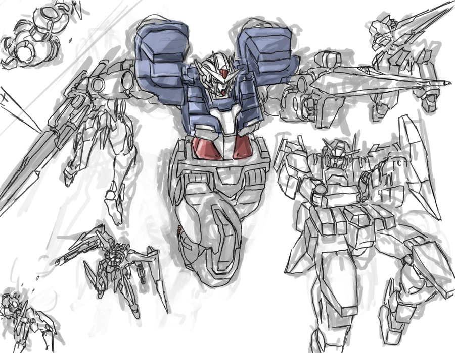 unfinished gundam 00 fanart by frost7 on deviantart