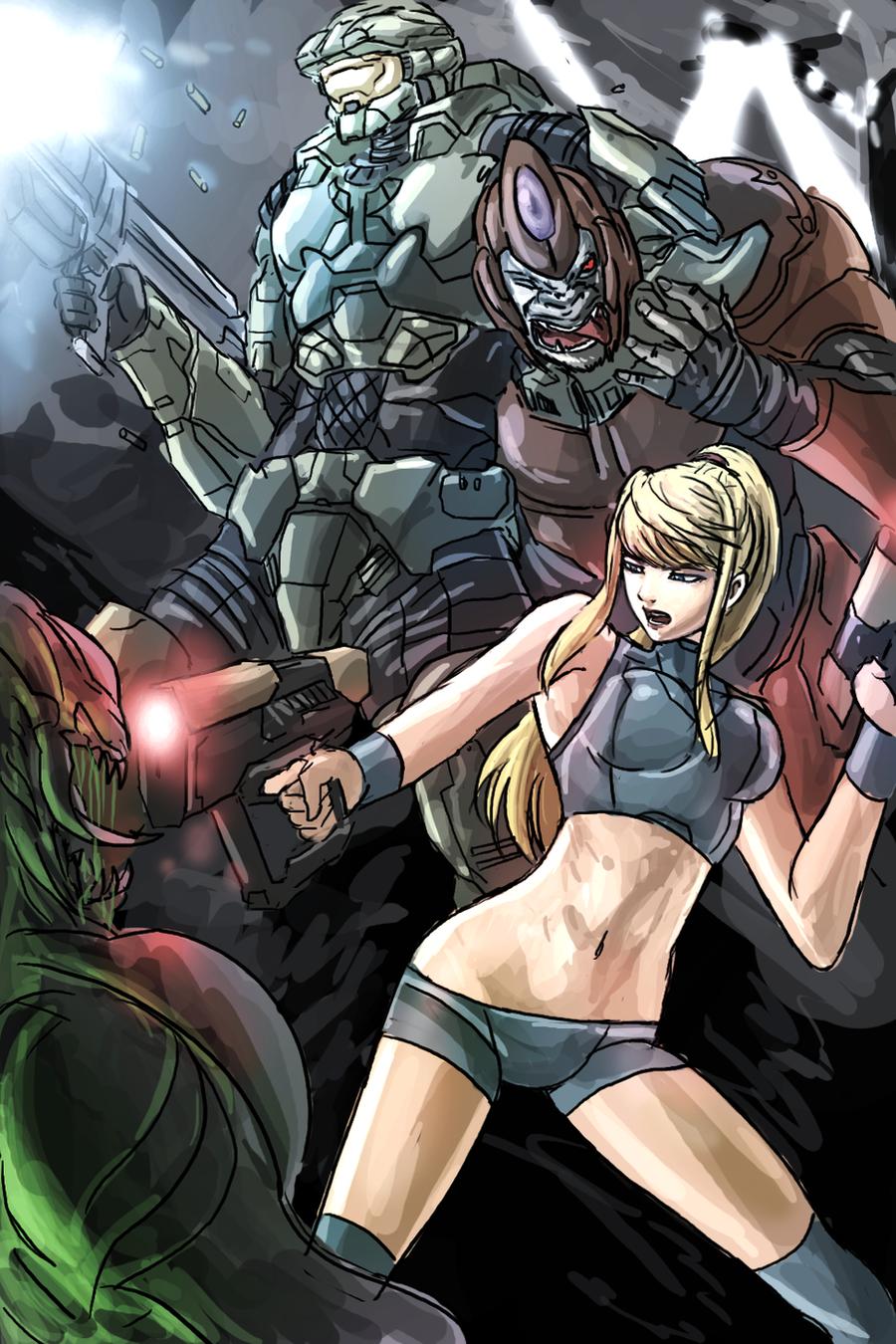 Samus Spartan teamwork by Frost7