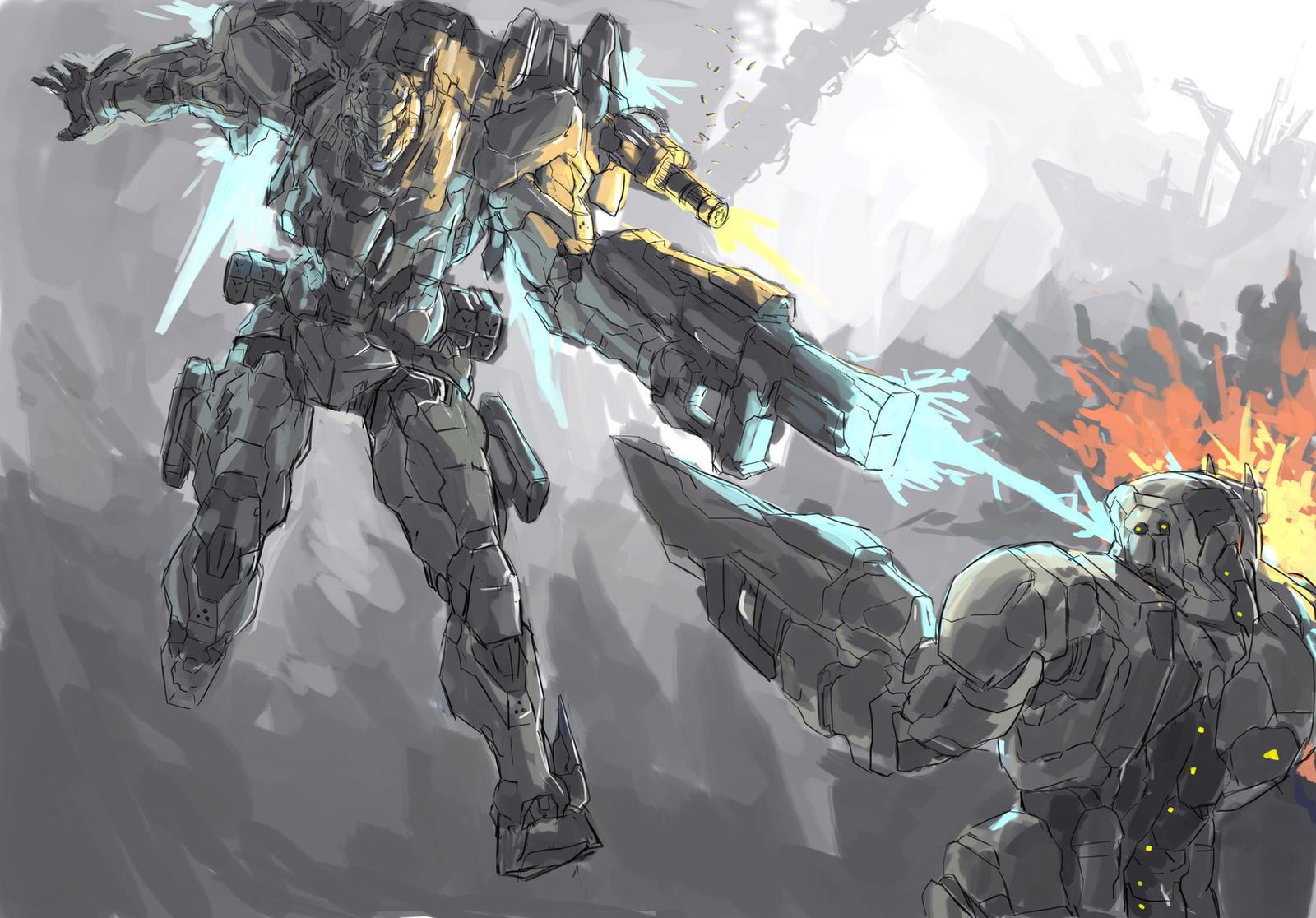 Mecha Battle in the Ash Lands by Frost7