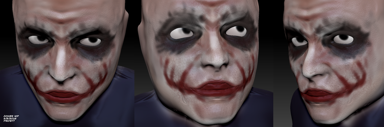 Heath Ledger Joker Zbrush WIP by Frost7