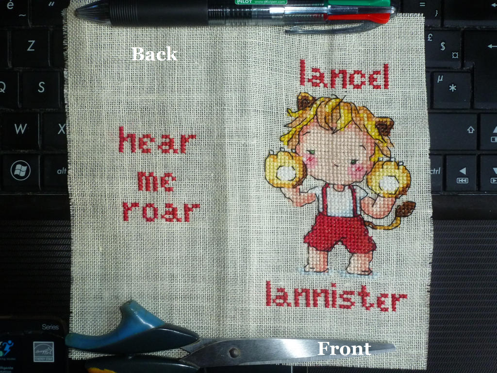 W.I.P: Lancel Lannister cross stitched mobile sock by LadyMarinaKa-Fai