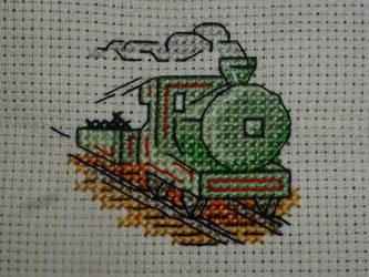 Steam train - Cross stitch by LadyMarinaKa-Fai