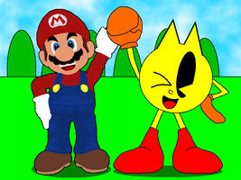 Mario and PAC-MAN! Working Together! by CHEEZN64X