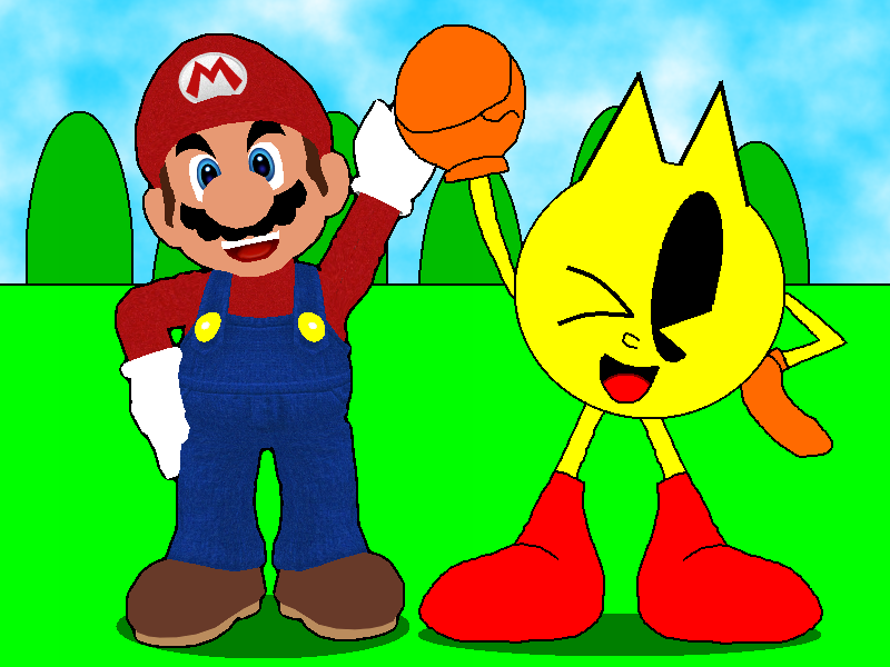 Mario And PAC-MAN! Working Together! By CHEEZN64X On