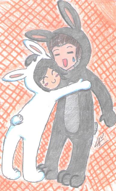 Conejo blanco y conejo negro :3 by kuki4982