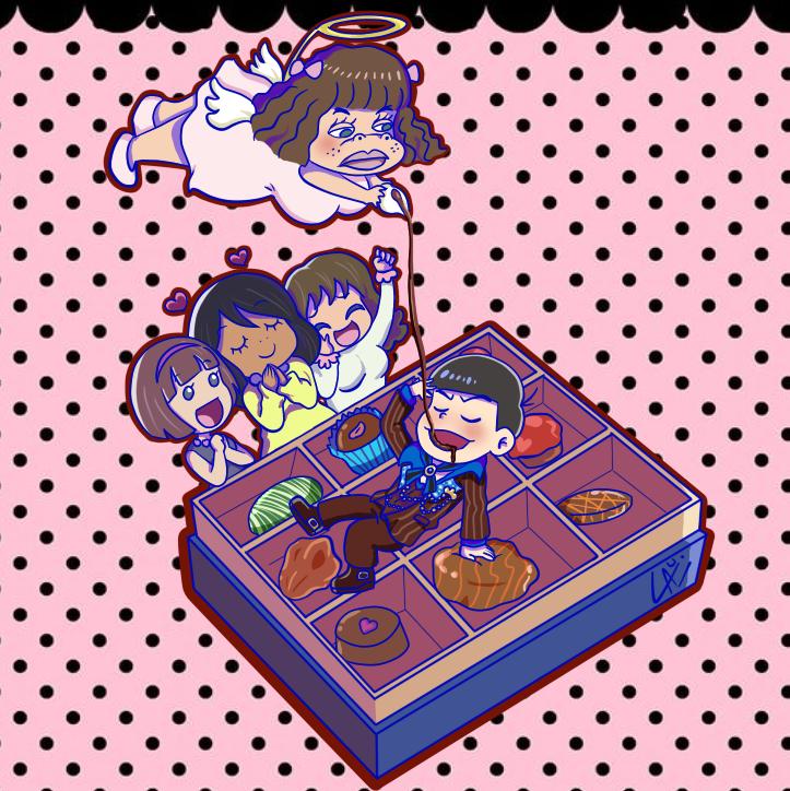 Karamatsu+Flower+Karamatsu Girls Valentine fanart by kuki4982