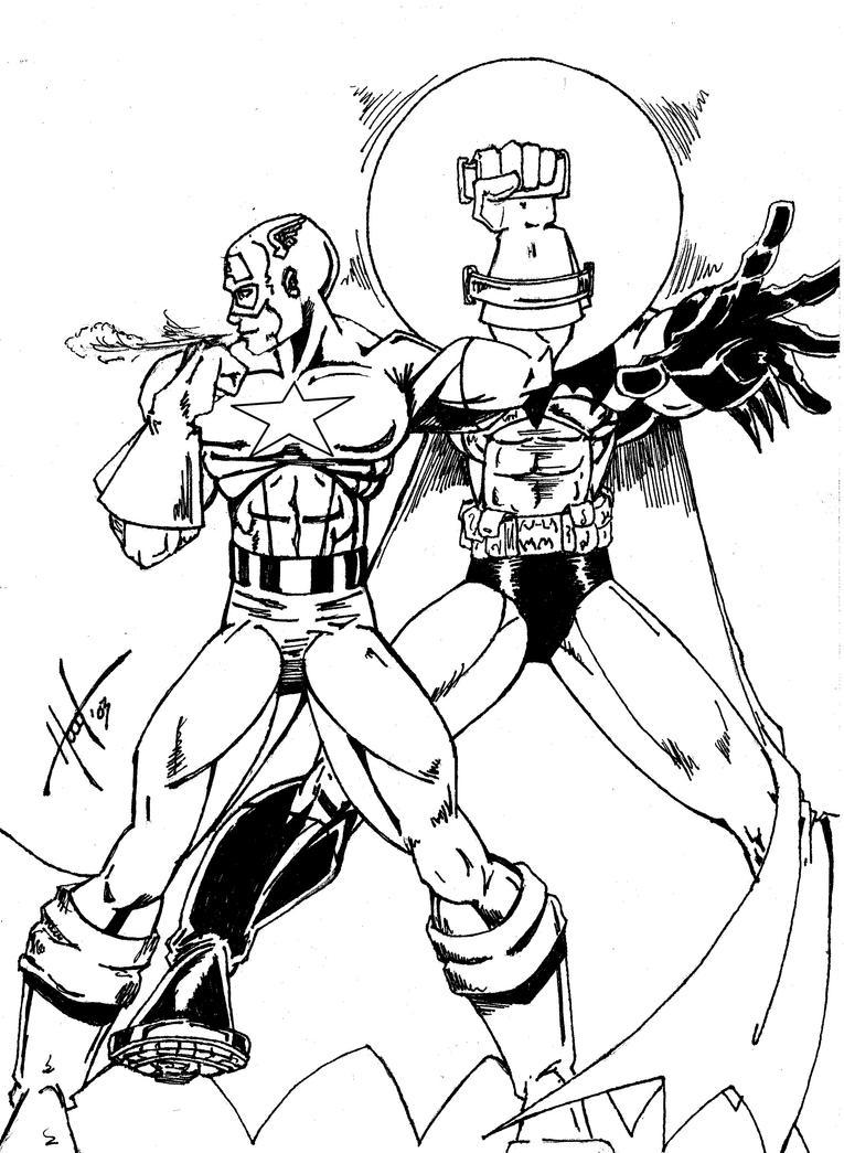 Captain america vs batman drawings
