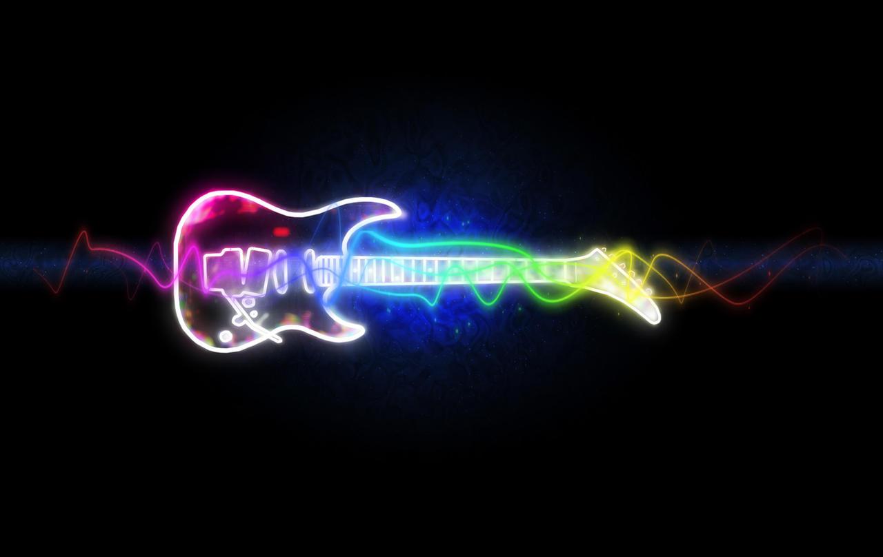 black neon electric guitar -#main