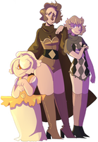Pyrite and her assistants (gemsonas) by bad-vibes-iva