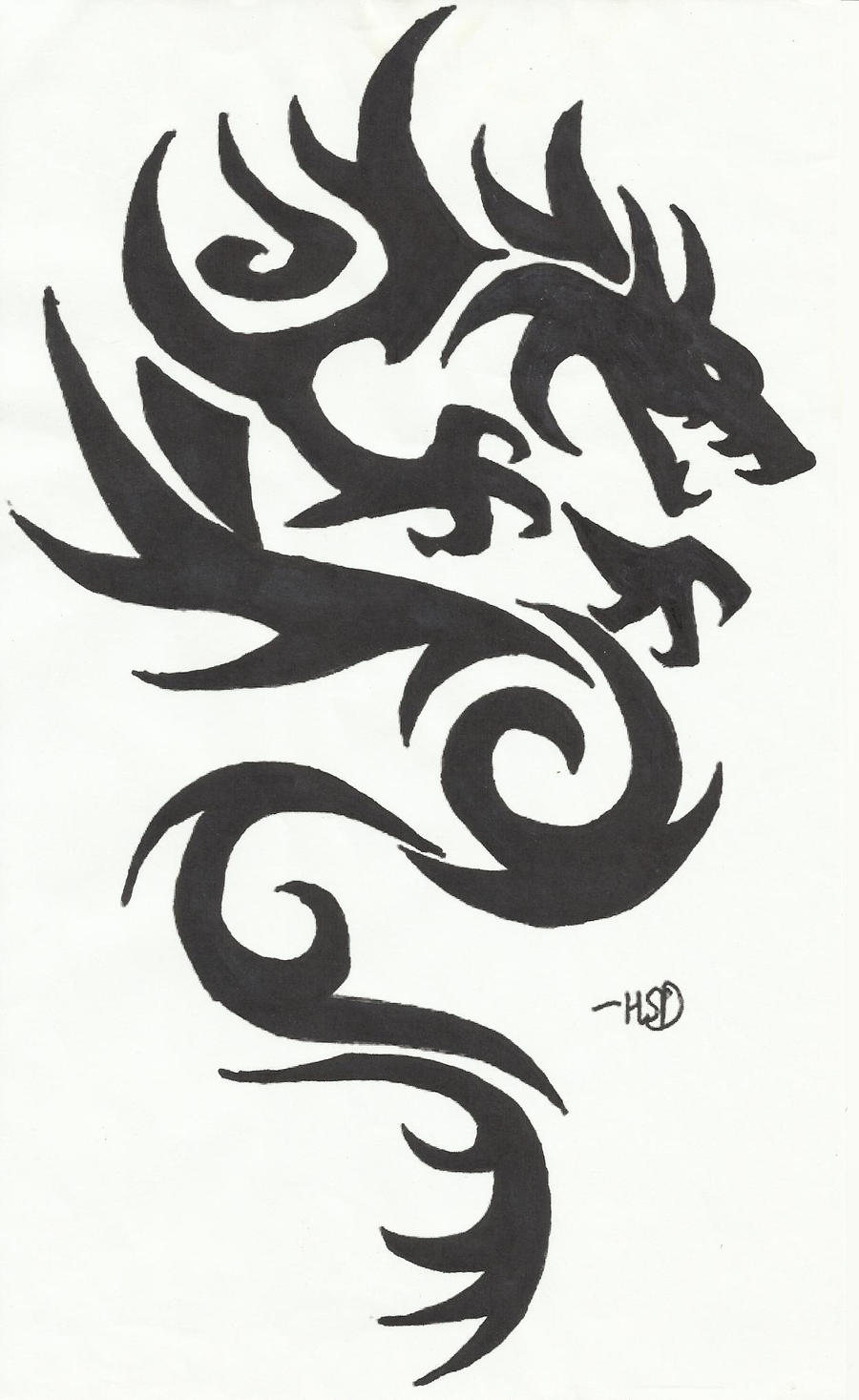 tribal dragon bold black by mustangchild on deviantart. Black Bedroom Furniture Sets. Home Design Ideas