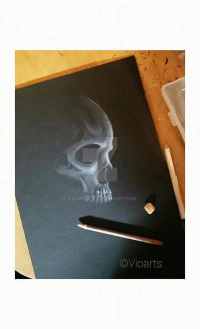 Midnight skull drawings by VioWolf