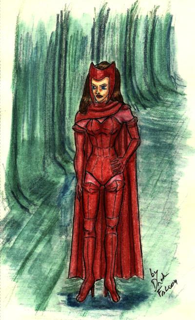 Scarlet Witch traditional by DarkFalcon-Z